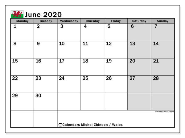 June 2020 Calendar, with the holidays of Wales. Free printable calendar with public holidays.