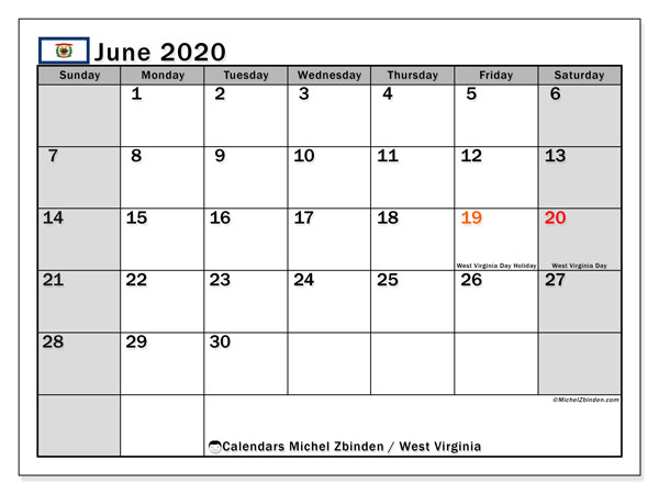 "Printable ""West Virginia"" calendar with public holidays. Monthly June 2020 calendar and free planner to print."