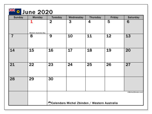June 2020 Calendar, with the holidays of Western Australia. Holidays calendar to print free.