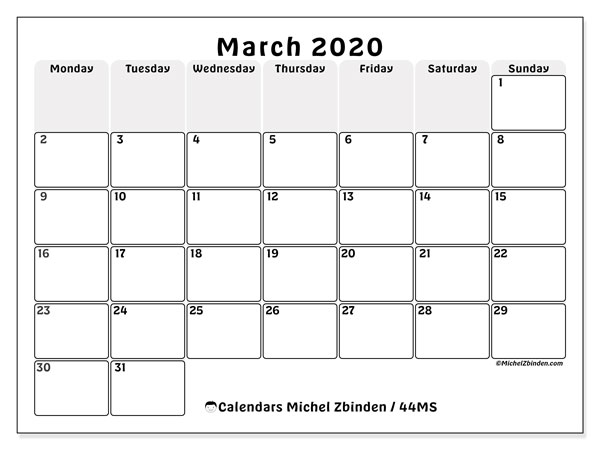 photograph relating to Printfree Com Calender called March 2020 Calendar (44MS) - Michel Zbinden EN