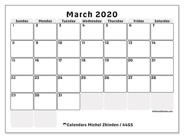 March 2020 Calendar, 44SS. Free printable monthly calendar.