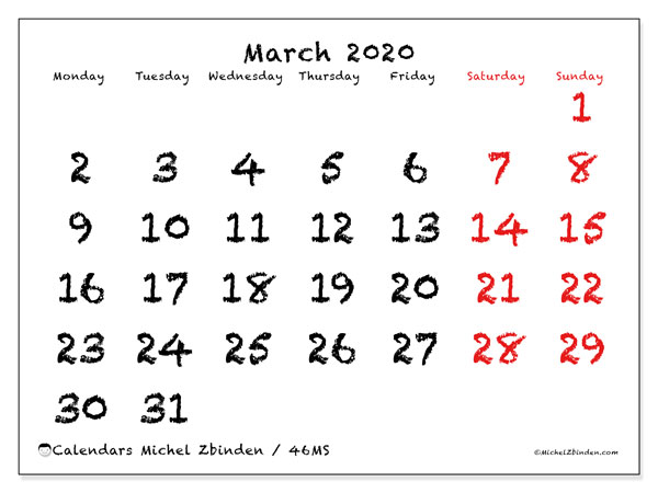 March 2020 Calendar, 46MS. Free bullet journal to print.