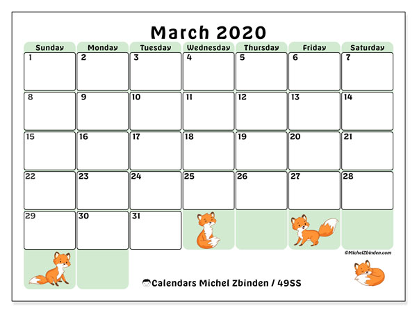 March 2020 Calendar, 49SS. Planner to print free.