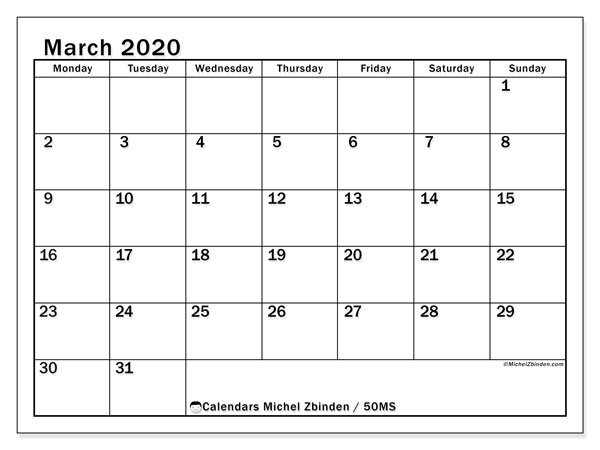 March 2020 Calendar, 50MS. Free calendar to print.