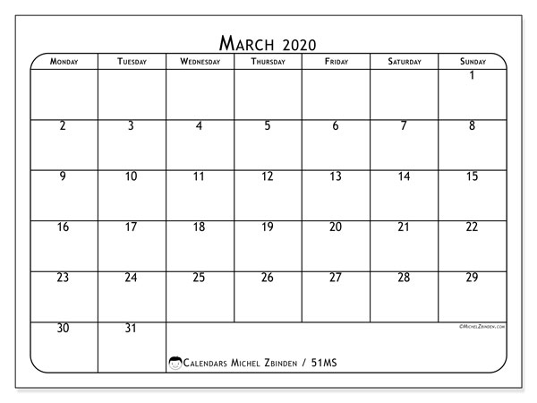 March 2020 Calendar, 51MS. Free calendar to print.