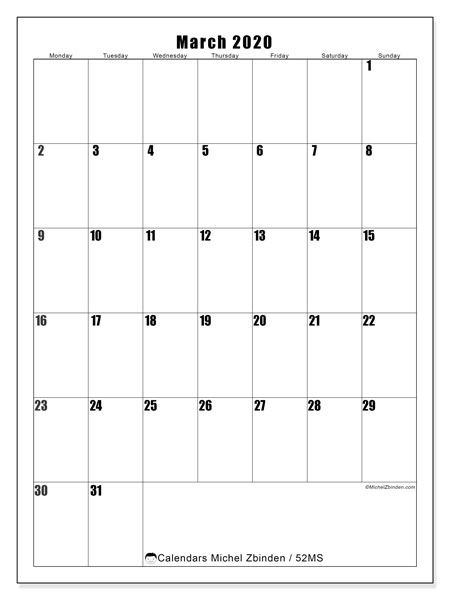 March 2020 Calendar, 52MS. Calendar to print free.