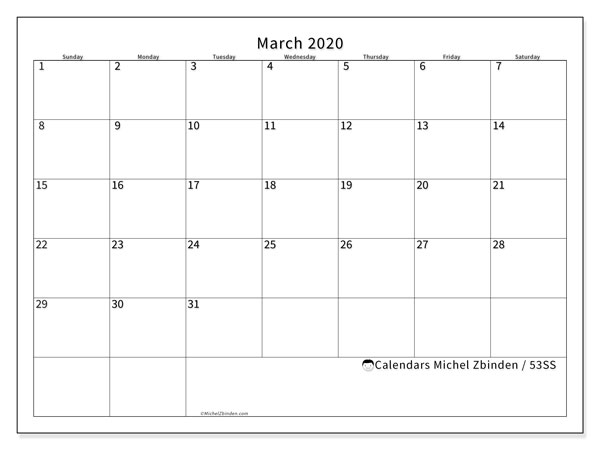 March 2020 Calendar, 53SS. Free printable monthly planner.