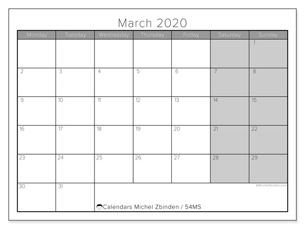 March 2020 Calendar, 54MS. Free printable planner.