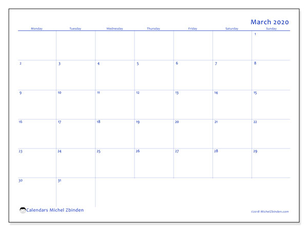 March 2020 Calendar, 55MS. Free printable bullet journal.