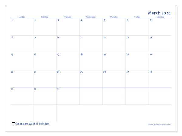 Calendar  March 2020, 55SS