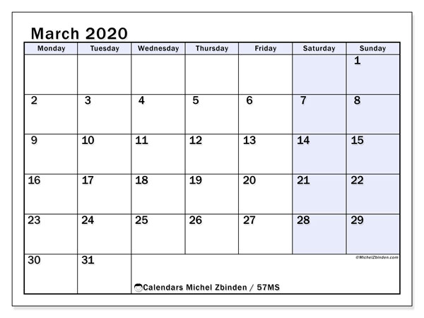 March 2020 Calendar, 57MS. Planner to print free.