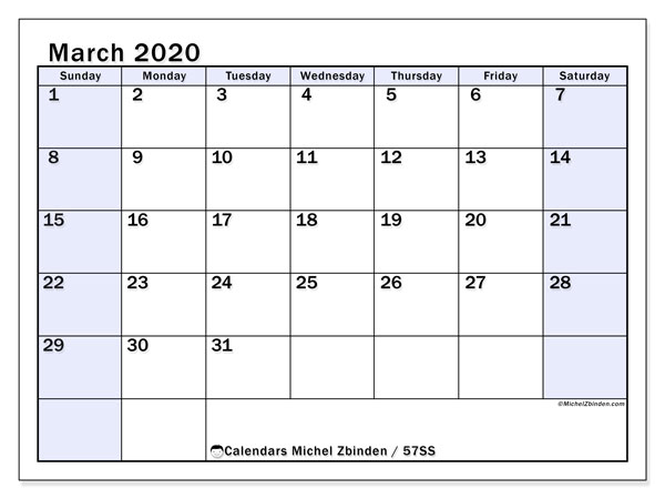 March 2020 Calendar, 57SS. Free printable monthly planner.