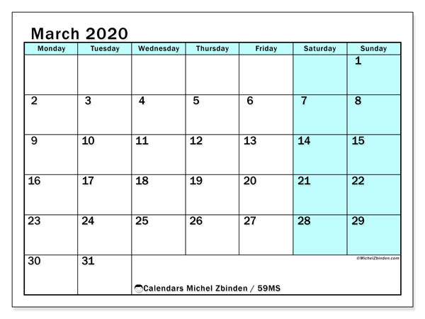 March 2020 Calendar, 59MS. Planner to print free.
