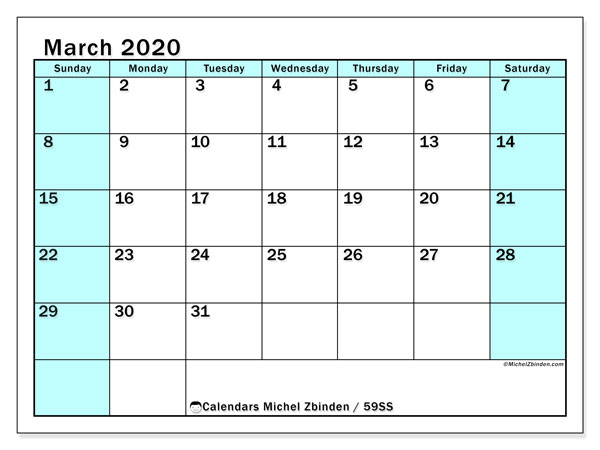 March 2020 Calendar, 59SS. Calendar for the month to print free.