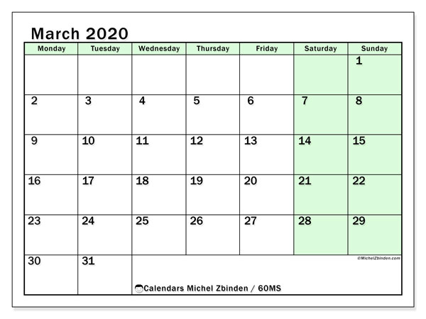 March 2020 Calendar, 60MS. Free planner to print.