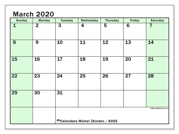 March 2020 Calendar, 60SS. Free printable monthly planner.