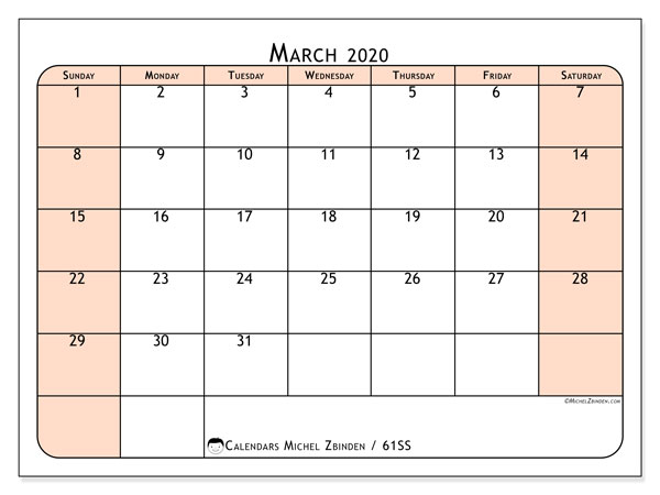 March 2020 Calendar, 61SS. Free printable bullet journal.