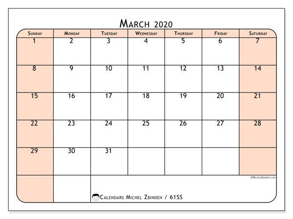 March 2020 Calendar, 61SS. Free calendar to print.