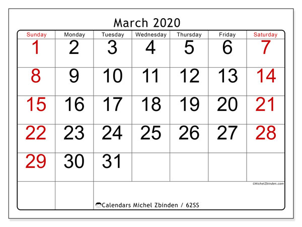 March 2020 Calendar, 62SS. Free bullet journal to print.