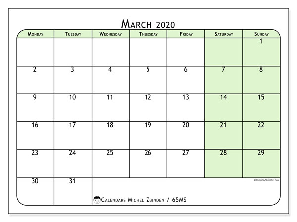 March 2020 Calendar, 65MS. Free bullet journal to print.