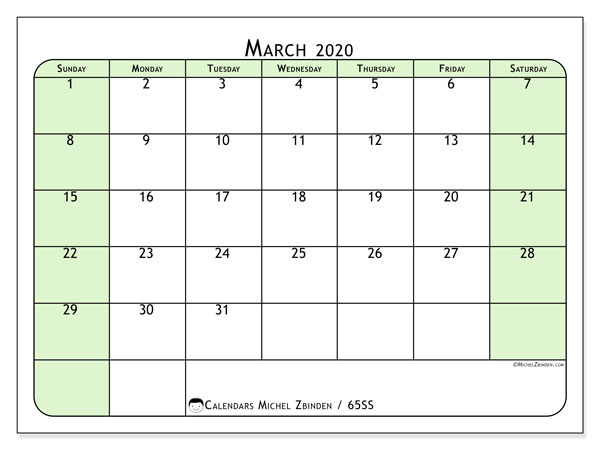 March 2020 Calendar, 65SS. Monthly planner to print free.