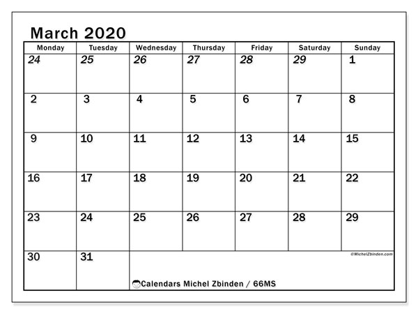 March 2020 Calendar, 66MS. Monthly calendar to print free.