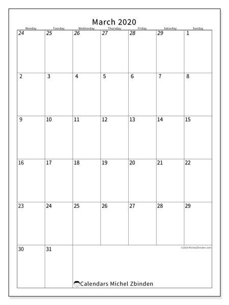 Calendar  March 2020, 68MS