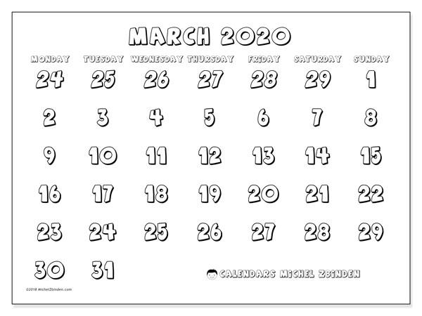 Calendar  March 2020, 71MS
