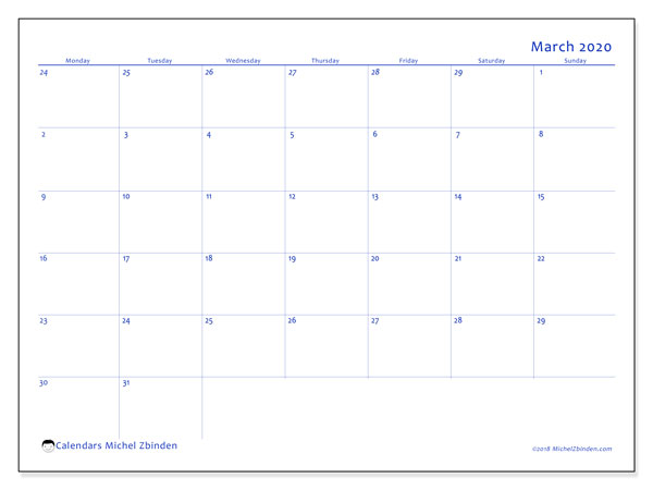 March 2020 Calendar, 73MS. Monthly calendar to print free.