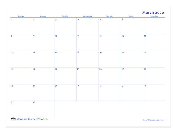 March 2020 Calendar, 73SS. Planner to print free.