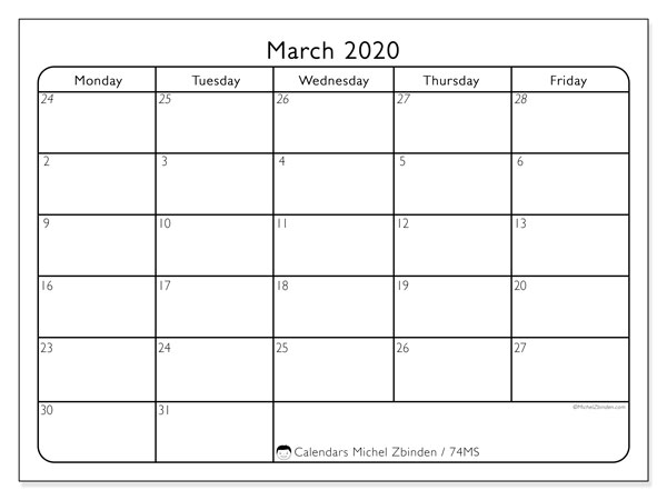 March 2020 Calendar, 74MS. Free bullet journal to print.