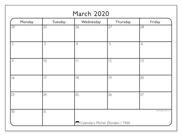 March 2020 Calendar, 74SS. Free bullet journal to print.