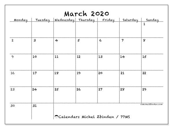 March 2020 Calendar, 77MS. Free calendar to print.