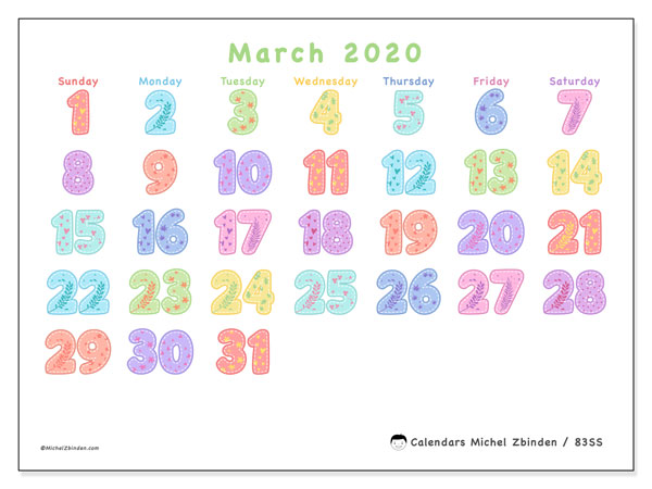 March 2020 Calendar, 83SS. Bullet journal to print free.