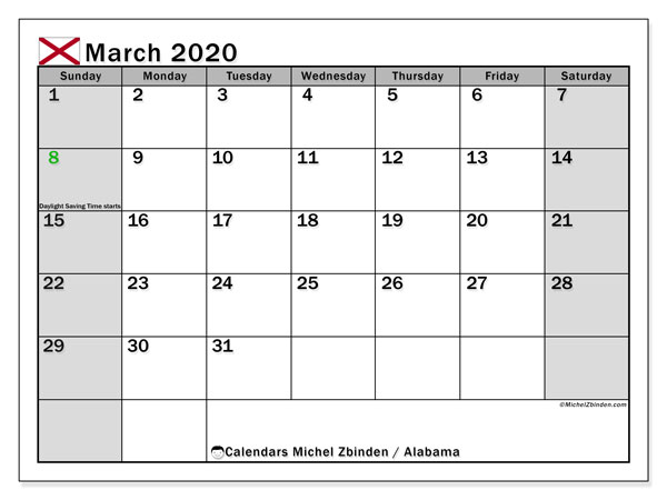 March 2020 Calendar, with the holidays of Alabama. Free printable calendar with public holidays.