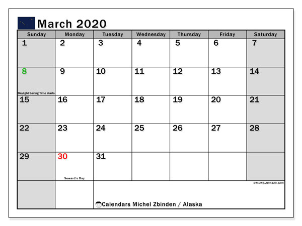 Calendar March 2020 - Alaska. Public Holidays. Monthly Calendar and free schedule to print.