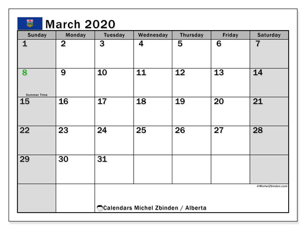 March 2020 Calendar, with the holidays of Alberta. Free printable calendar with public holidays.