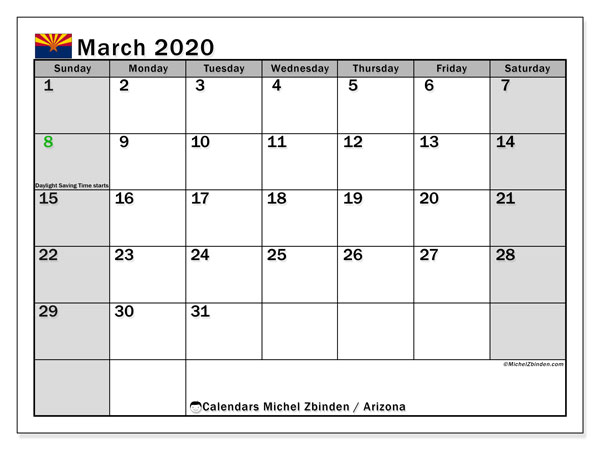 March 2020 Calendar, with the holidays of Arizona. Free printable calendar with public holidays.