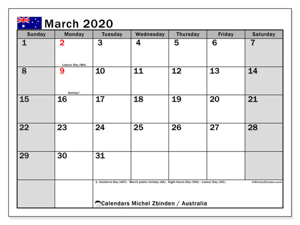March 2020 Calendar, with the holidays of Australia. Holidays calendar to print free.