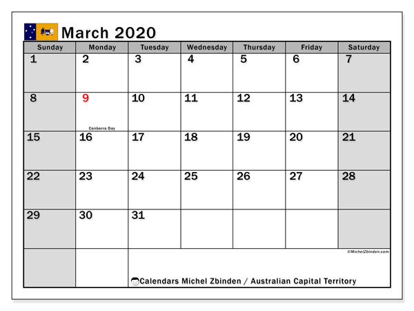 March 2020 Calendar, with the holidays of Australian Capital Territory. Holidays calendar to print free.