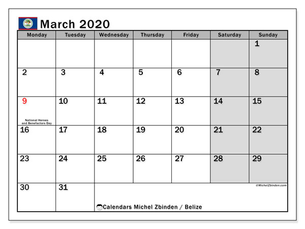 March 2020 Calendar, with the holidays of Belize. Free printable calendar with public holidays.