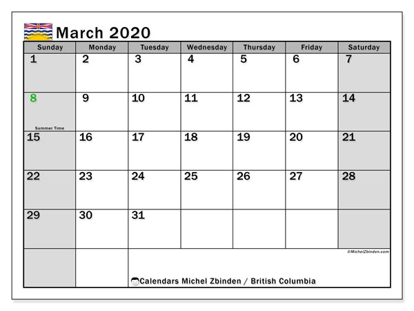 March 2020 Calendar, with the holidays of British Columbia. Free printable calendar with public holidays.