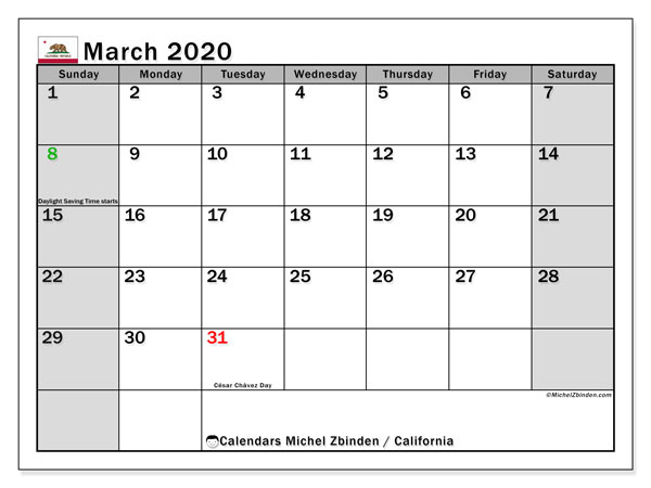 March 2020 Calendar, with the holidays of California. Holidays calendar to print free.