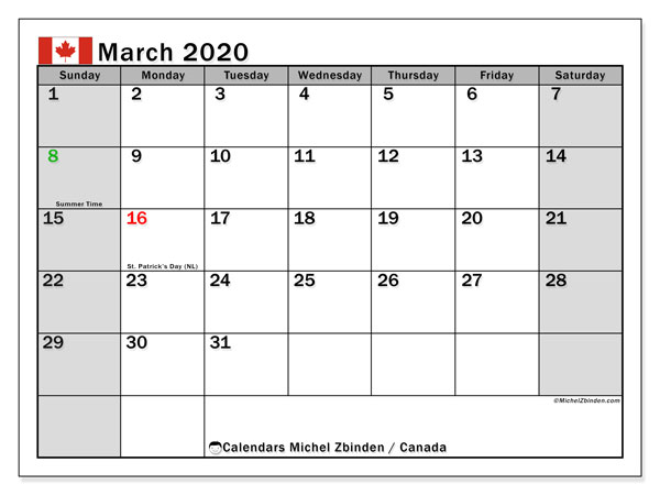 March 2020 Calendar, with the holidays of Canada. Free printable calendar with public holidays.