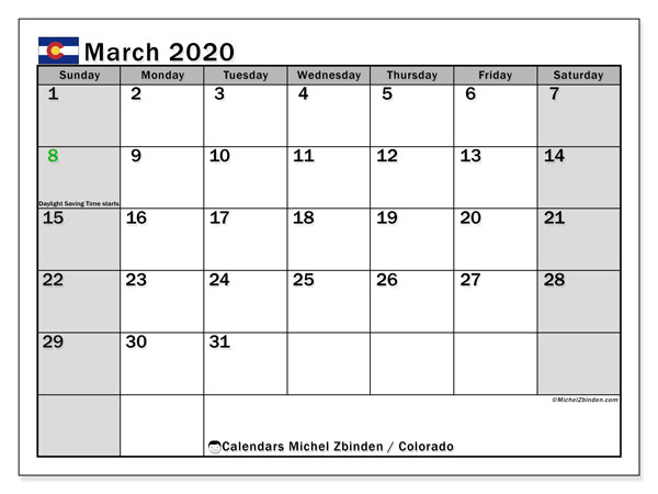 March 2020 Calendar, with the holidays of Colorado. Free printable calendar with public holidays.