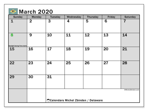 "Printable ""Delaware"" calendar with public holidays. Monthly March 2020 calendar and free printable agenda."