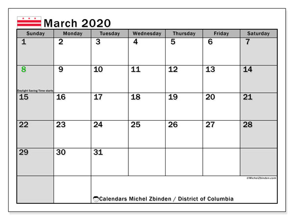 March 2020 Calendar, with the District of Columbia holidays. Free printable calendar with public holidays.
