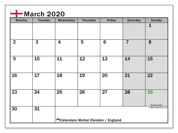 March 2020 Calendar, with the holidays of England. Free printable calendar with public holidays.