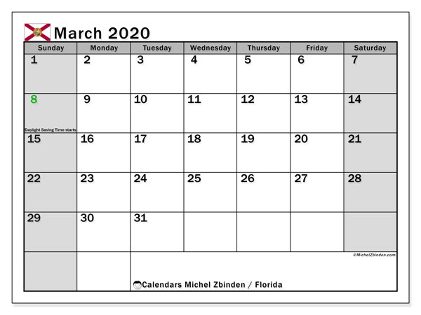 March 2020 Calendar, with the holidays of Florida. Free printable calendar with public holidays.