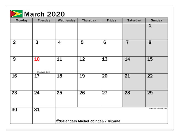 March 2020 Calendar, with the holidays of Guyana. Holidays calendar to print free.
